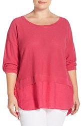 Plus Size Women's Foxcroft Button Back Mixed Media Sweater Shocking Pink