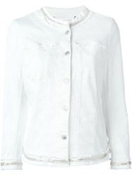 7 For All Mankind Embellished Trim Frayed Denim Jacket White