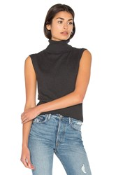 Bella Luxx Cashmere Blend Funnel Neck Tank Charcoal