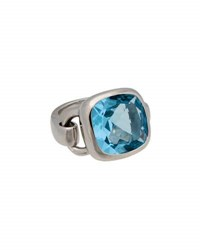 Poiray Indrani 18K White Gold Cushion Cut Blue Topaz Ring