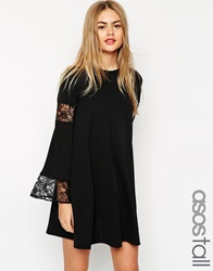 Asos Tall Boho Swing Dress With Long Sleeve And Lace Inserts Black