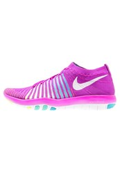 Nike Performance Free Transform Flyknit Sports Shoes Hyper Violet White Gamma Blue Hyper Turquoise Neon Yellow