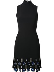 David Koma Metal Circle Applique Dress Black