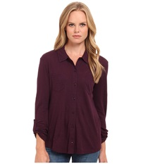 Splendid Slub Button Up Shirt Eggplant Women's T Shirt Purple