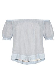 See By Chloe Striped Off The Shoulder Cotton Blend Top Light Blue