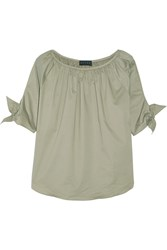 Hatch Isla Gathered Poplin Blouse Army Green
