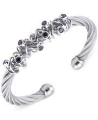 Charriol Women's Silver Tone Black Spinel Cable Bangle Bracelet