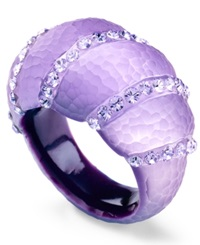 Sis By Simone I Smith Platinum Over Sterling Silver Ring Purple Lucite Crystal Accent Ring