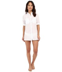 Lauren Ralph Lauren Crushed Cotton Camp Shirt Cover Up White 1 Women's Swimwear