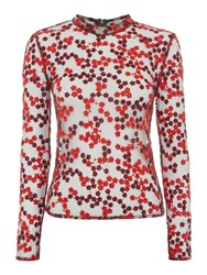 Little White Lies Long Sleeved High Neck Sheer Printed Top Red