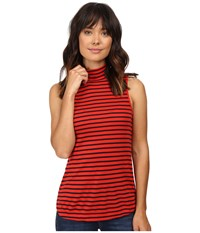 Splendid 1X1 Stripe Mock Neck Tank Top Poppy Women's Sleeveless Red