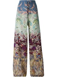 Valentino Floral And Bird Print Trousers Multicolour