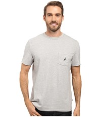 Nautica Short Sleeve Solid Anchor Pocket Tee Grey Heather Men's T Shirt Gray