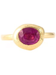 Natasha Collis Pink Sapphire Stacking Ring Metallic