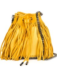 Stella Mccartney 'Falabella Sun' Fringed Bucket Shoulder Bag Yellow And Orange