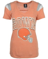 5Th And Ocean Women's Cleveland Browns Shoulder Stripe T Shirt Orange