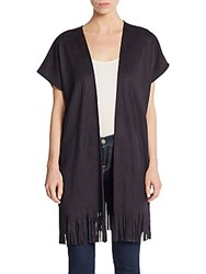Saks Fifth Avenue Cap Sleeve Fringed Cardigan Black