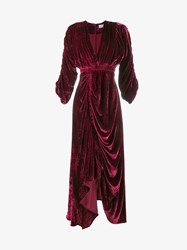 Preen Rebecca Ruched Velvet Dress Burgundy