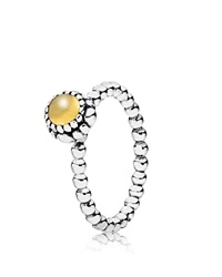 Pandora Design Pandora Ring Sterling Silver And Gold Citrine Birthday Blooms November