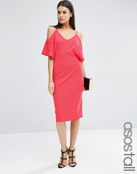 Asos Tall Pencil Dress With Cold Shoulder Fuchsia Pink