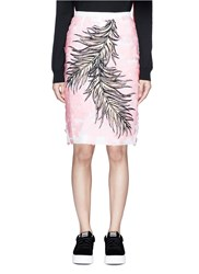 Emilio Pucci Sequin Leaf Embroidery Lace Pencil Skirt Pink