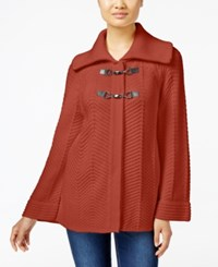 Jm Collection Petites Petite Toggle Front Cardigan Only At Macy's Rusty Red