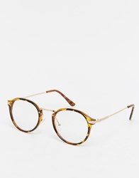 Jeepers Peepers Casper Round Clear Lens Glasses In Tort Brown