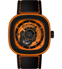 Seven Friday P1 03 Steel And Rubber Watch Orange