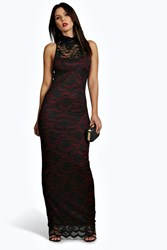Boohoo Contrast Lining Lace High Neck Maxi Dress Berry