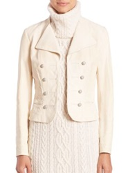 Polo Ralph Lauren Embroidered Leather Jacket Alpine Cream