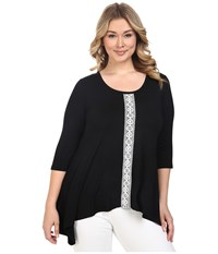 Karen Kane Plus Size Lace Panel Handkerchief Top Black Off White Women's Short Sleeve Knit Multi