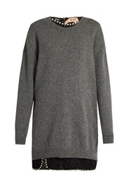 N 21 Crystal Embellished Lace Top And Wool Sweater Grey Multi