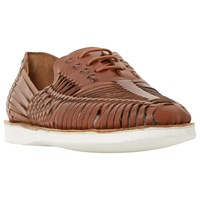 Bertie Bric White Sole Woven Leather Lace Up Shoe Tan