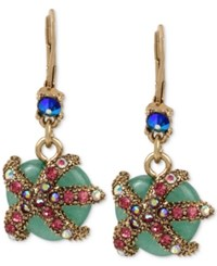 Betsey Johnson Gold Tone Green Stone Glittery Starfish Drop Earrings