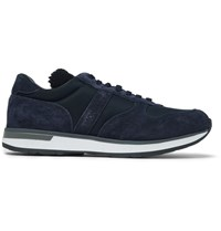 Moncler New Montego Shearling Lined Suede And Shell Sneakers Navy