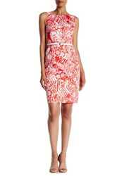Nine West Printed Pleat Neck Shift Dress Multi