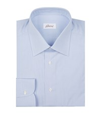 Brioni Micro Checked Cotton Shirt Male Blue