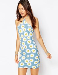 Motel Keylse Dress In Wild Daisy Print Wild Daisy Pastel Blue