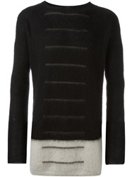Rick Owens Colour Block Long Length Jumper Black