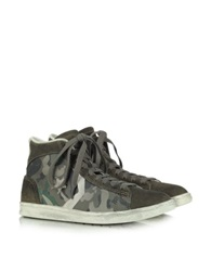 Converse Limited Edition Pro Leather Mid Canvas And Suede Sneaker Green