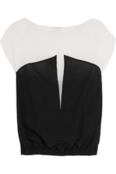 Vionnet Woven Wool Blend And Silk Top Black