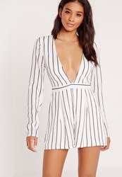Missguided Tall Exclusive Stripe Plunge Playsuit White White