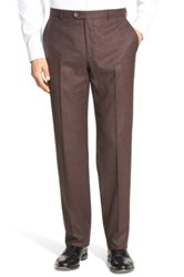 Hickey Freeman Flat Front Solid Wool Travel Trousers Purple