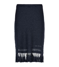Elie Tahari Benson Tassel Skirt Female Dark Blue