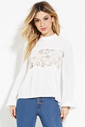 Forever 21 Crocheted High Neck Top Ivory