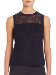 Akris Punto Sleeveless Grid Top Tangerine Navy