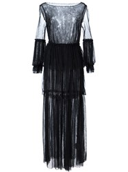 Malia Mills Ruffled Long Sheer Beach Dress Black