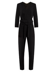 Vanessa Bruno Franco Plunging Tapered Leg Crepe Jumpsuit Black