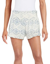 Design Lab Lord And Taylor Tie Dye Ruffle Shorts White Blue