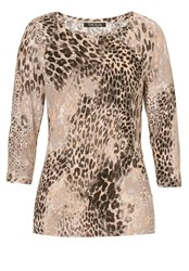 Betty Barclay Animal Print Top Beige